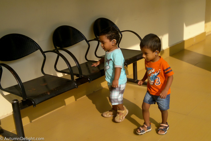 Adith and Enoch playing at AIISH, Mysore